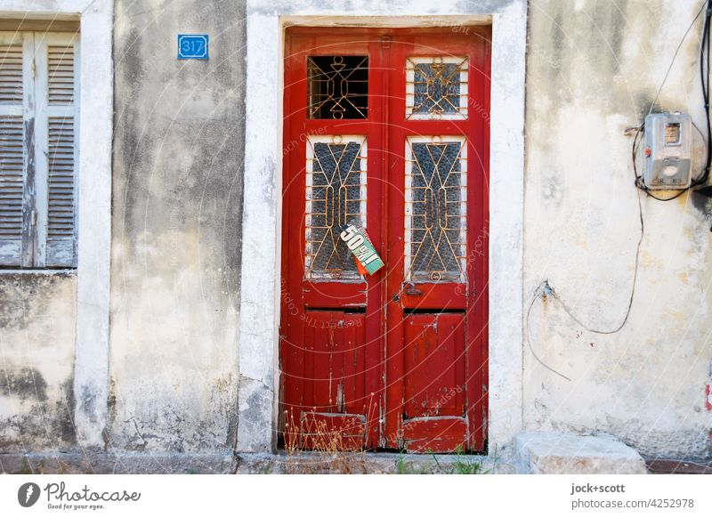 at the old gate 50% ! door Retro Style Ravages of time Decline Weathered Clue fixed Greek Corfu Greece Poster Digits and numbers Signs and labeling lost places