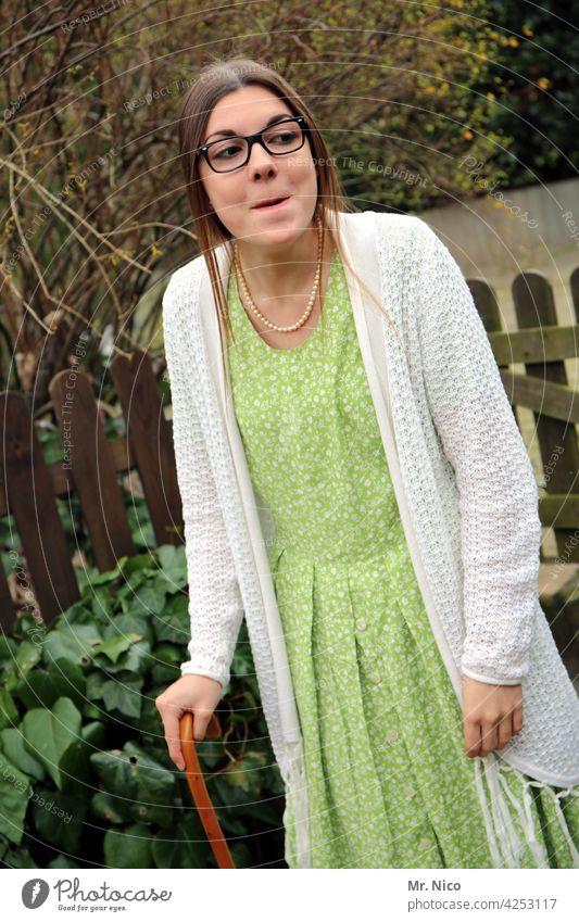 young grandma Grandmother Woman Old Generation care Retirement Nursing home Pensioner Eyeglasses Aging dementia Cardigan walking stick Pearl necklace Dress