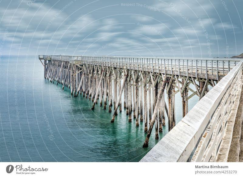 San Simeon pier on the William Randolph Hearst Memorial beach, California bridge recreation bay william randolph hearst memorial beach tide california beach