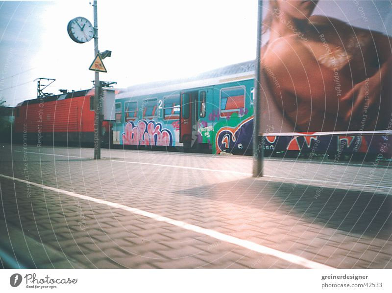 departure Train travel Railroad Platform Advertising Poster Clock Transport Train station Lomography Perspective Ski-run Door