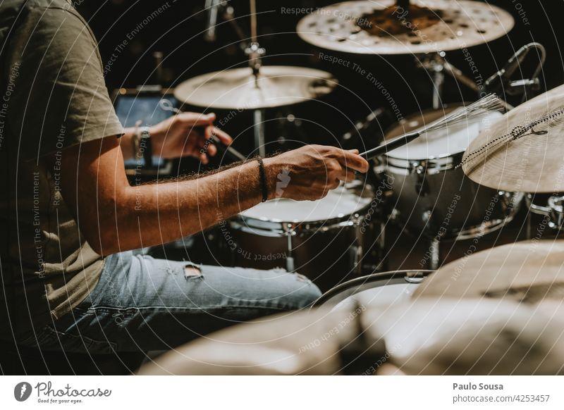 Close up musician playing drums Drum Drum set Drummer Musician Musical instrument Rhythm Interior shot Drumstick Beat Concert Sound sticks Man Entertainment