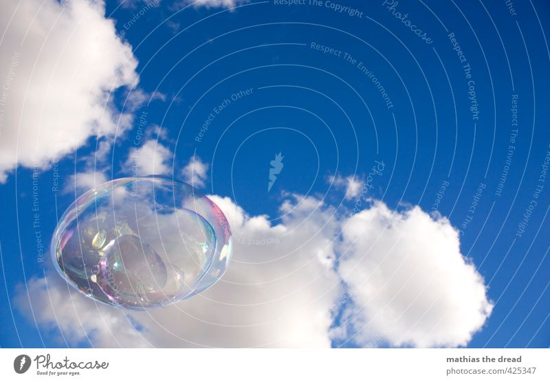 soap bubble Environment Air Sky Clouds Sun Beautiful weather Esthetic Soap bubble Effortless Comical Easy Hover Floating Colour photo Multicoloured