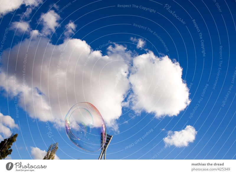 soap bubble II Air Sky Clouds Sun Beautiful weather Tree Flying Hover Soap bubble stadium light Floodlight wall park Infancy Playing Joy Kitsch Colour photo