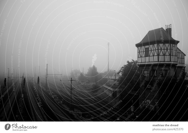 In the morning Deserted House (Residential Structure) Train station Manmade structures Building Architecture Transport Traffic infrastructure Logistics