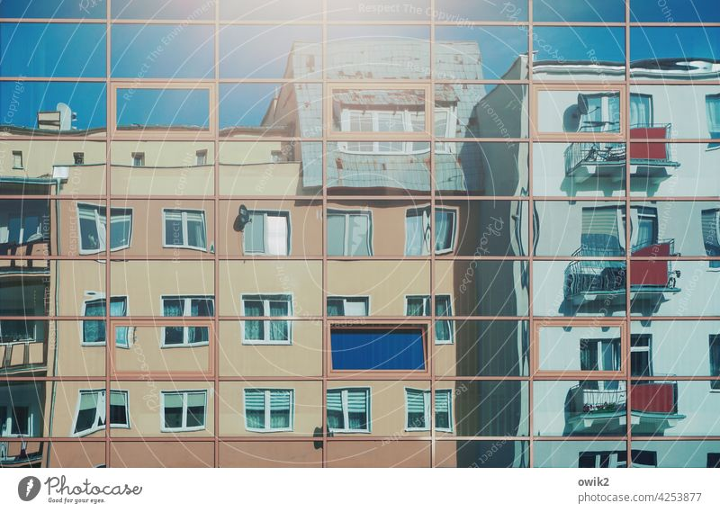 Overview of the Glas facade Part Opposite Colour photo Exterior shot Bizarre Crazy Deferred Many Town Sharp-edged Window Facade House (Residential Structure)