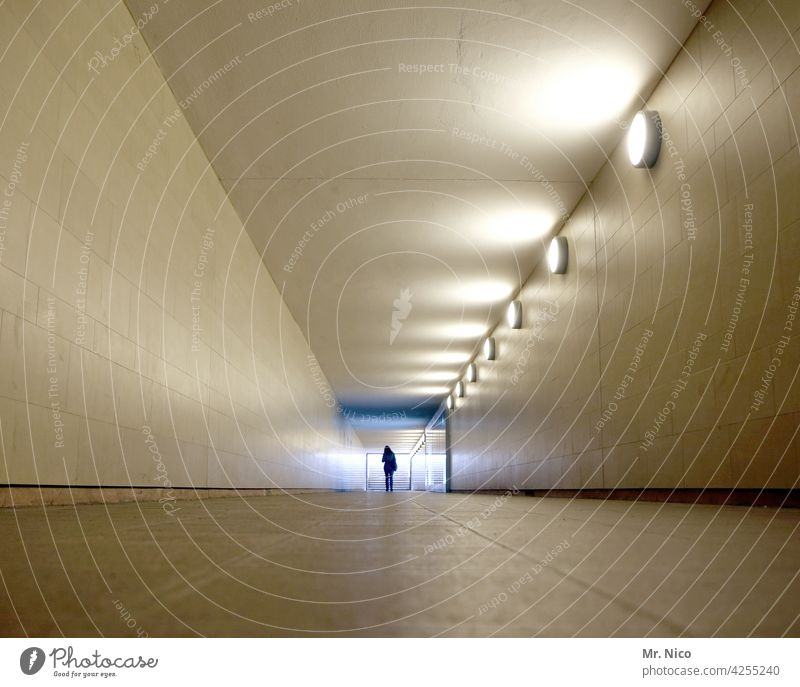 in the tunnel Light Tunnel Architecture Underpass Pedestrian Lanes & trails Tunnel vision Bright spot Passage Subsoil Corridor Underground Loneliness Symmetry
