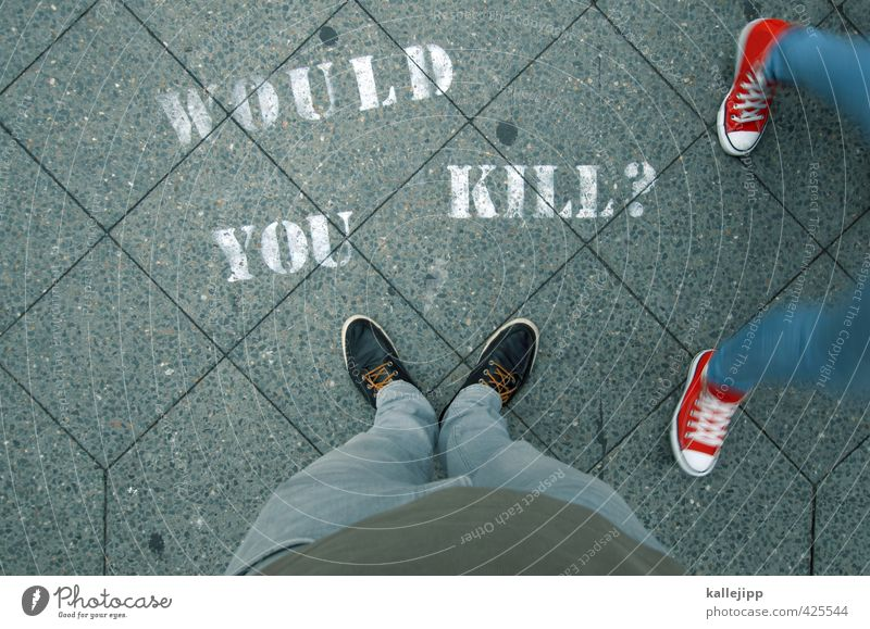 Human being Graffiti Going Legs Feet Body Masculine Footwear Characters Sign Opinion Ask Sneakers Pedestrian Kill Poll