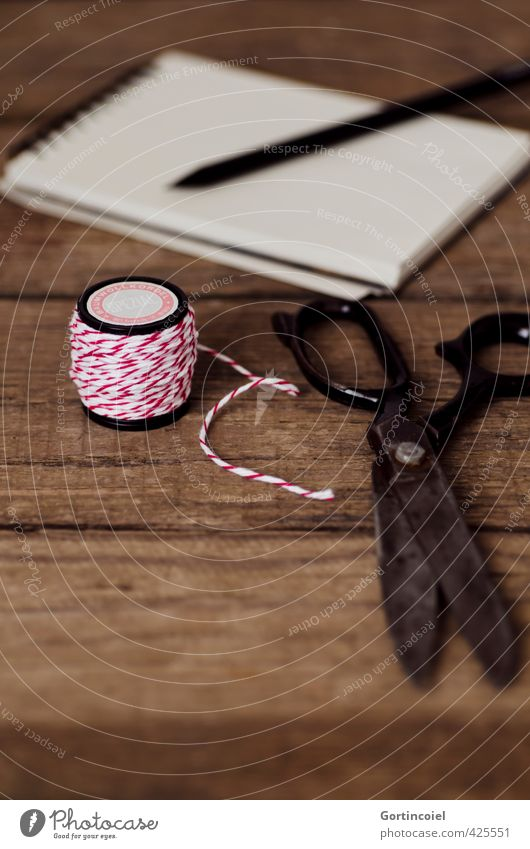 twine Paper Piece of paper Pen Old Vintage Scissors String Sewing thread Reddish white Handcrafts Deserted Copy Space bottom Shallow depth of field