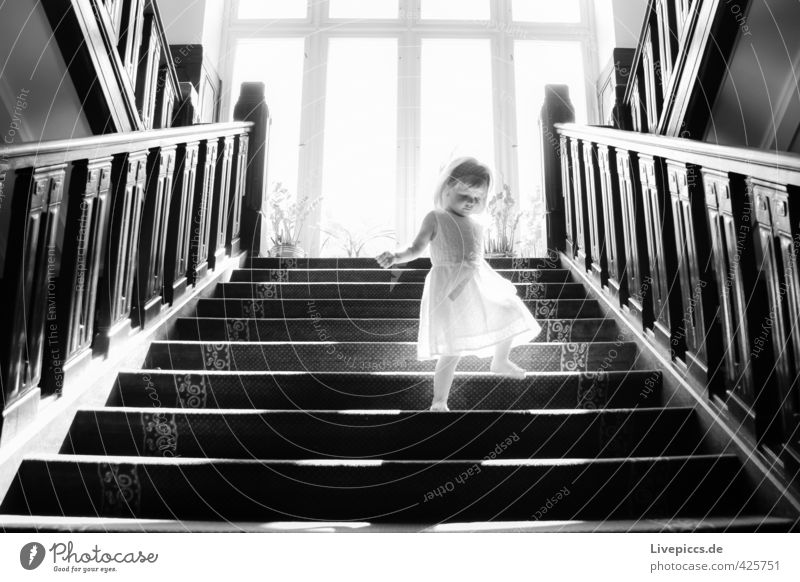 ...on the stairs Human being Feminine Child Toddler Girl Body 1 1 - 3 years Stairs Window Going Stand Black White Black & white photo Interior shot Day Light