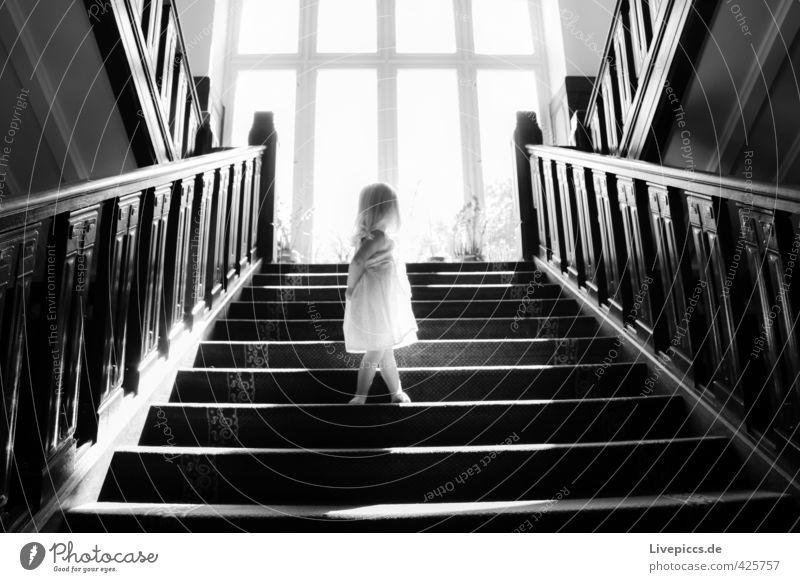 Human being Child White Summer Sun Girl Calm Black Window Feminine Wood Body Stairs Glass Illuminate Stand