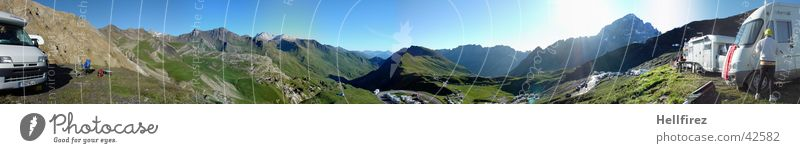 Col de Galibier 1 Tour de France Stage race Panorama (View) Alpine Mountain pano Sky Blue Vantage point Large Panorama (Format)