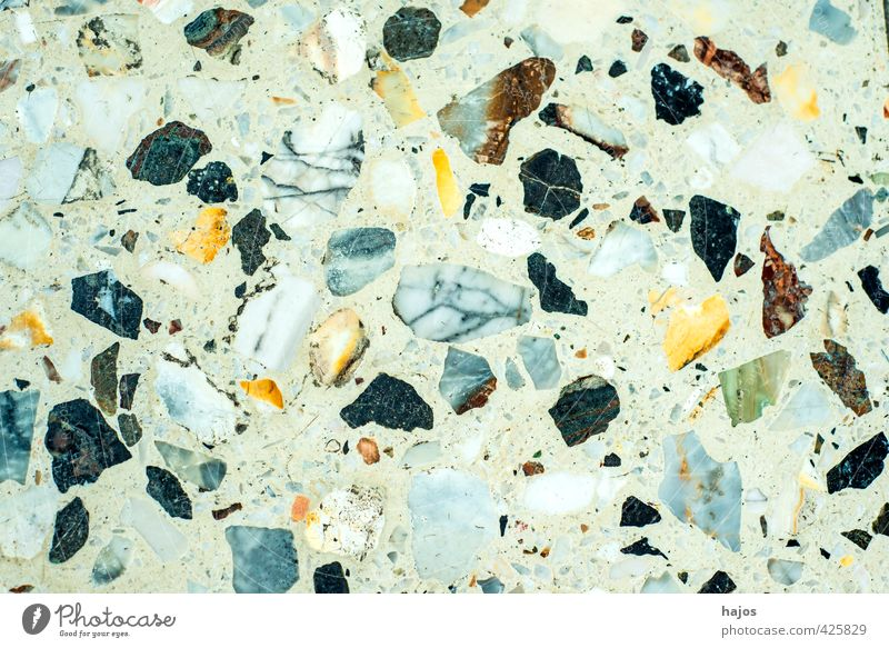 Stone floor made of mosaic stones Craft (trade) Old Historic Kitsch Trashy Blue Yellow Gray Green Black White Art Past Mosaic Ground Coating Old fashioned