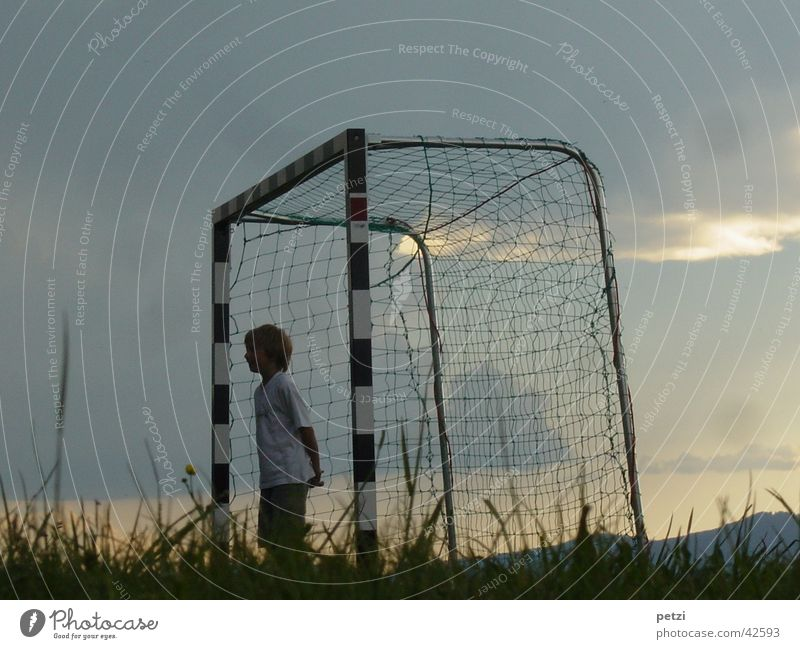 I'm waiting, where's the ball? Sports Soccer Sky Clouds Grass Meadow Gate Net Loneliness Rod Reddish white Dusk Sunset goalie Colour photo Exterior shot