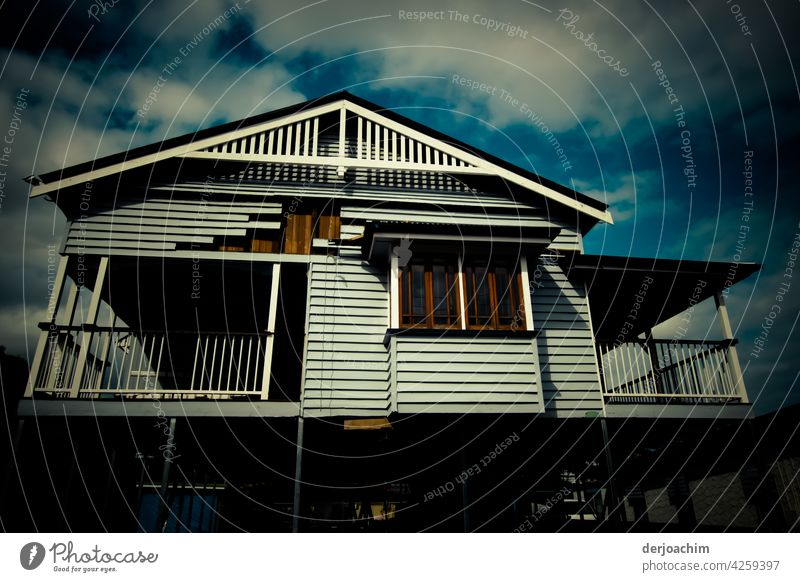 Old Queensland house on stilts , being renovated. House (Residential Structure) Architecture Building Sky Exterior shot Colour photo Deserted Manmade structures