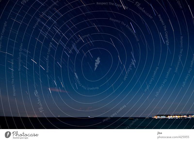 Nature Blue Summer Ocean Calm Clouds Far-off places Dark Movement Freedom Horizon Illuminate Island Elements Circle Stars