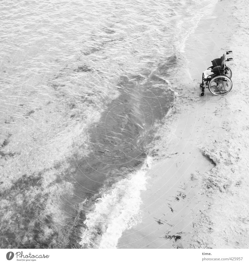 Bicycle | Alternative Sand Water Beautiful weather Waves Coast Beach Baltic Sea Transport Means of transport Passenger traffic Vehicle Wheelchair Stand Bravery
