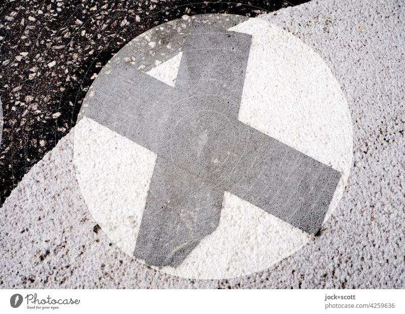 Cross & Circle Symbols and metaphors Signs and labeling Structures and shapes Abstract Adhesive tape Double exposure Detail Asphalt Site Orientation Symmetry