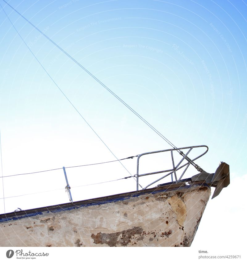 Old pride boat wall ship Maritime Transience Safety Overhaul Sky Rope Railing Anchor dockyard dilapidated unseaworthy Bow Beautiful weather