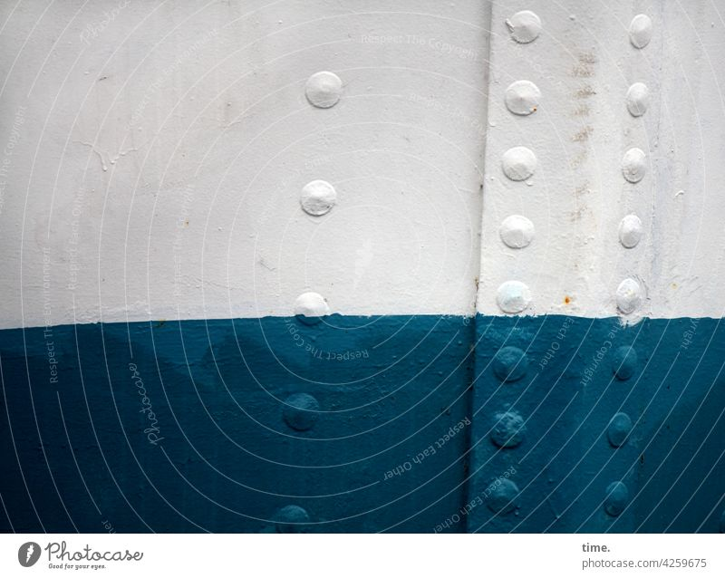maritime references boat wall ship Steel Rivet Colour Blue White Maritime detail be afloat Transience Safety Protection