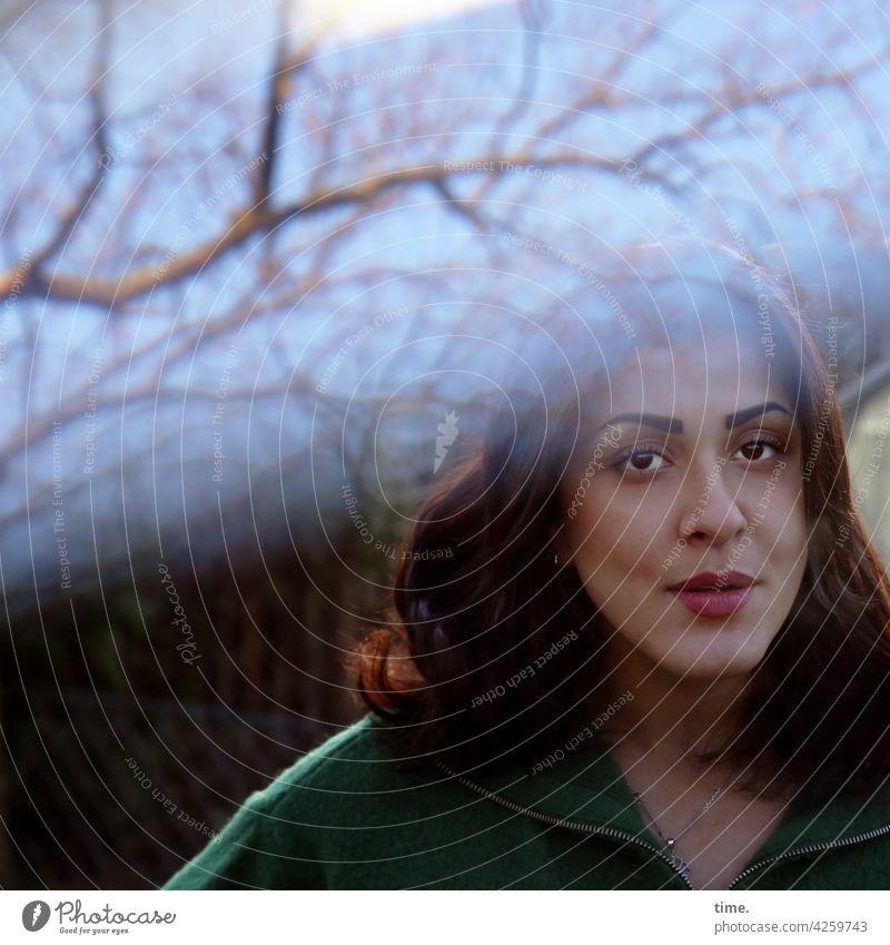 Estila Woman portrait Looking Feminine Skeptical Long-haired Dark-haired Branch Tree Lighting effect scrutinizing Meditative