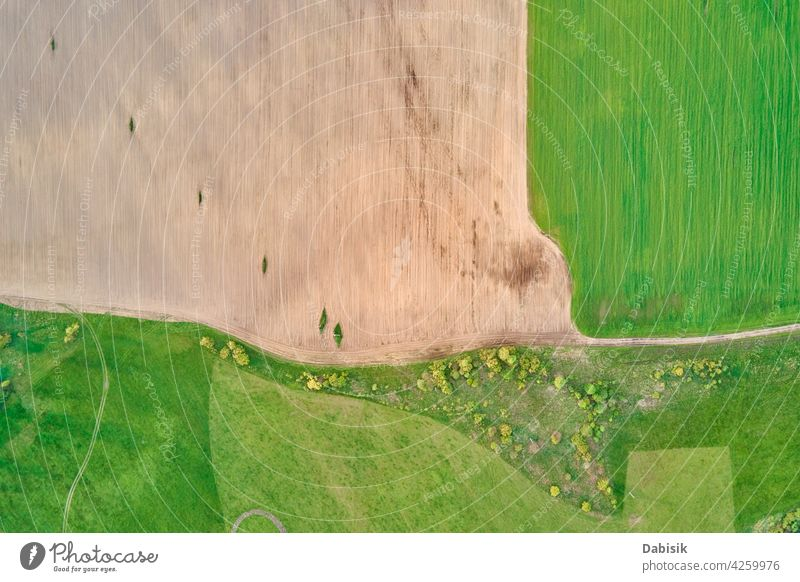 Aerial view of agricultural and green fields in countryside landscape panorama aerial agriculture outdoor nature over summer high fly atmosphere space above