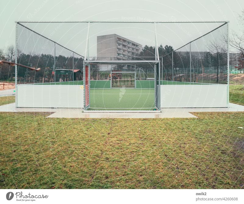 playground Sporting grounds Sporting Complex Football pitch Leisure and hobbies Deserted Ball sports Playing field Net Colour photo Exterior shot