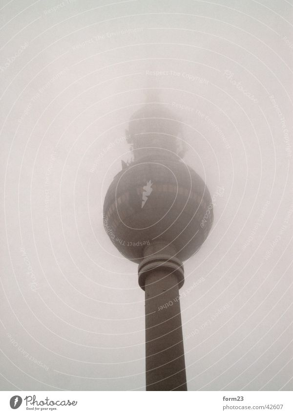 Sky Building Architecture Fog Perspective Tower Berlin TV Tower Bad weather