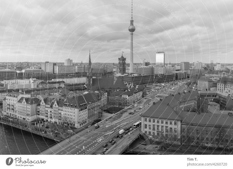 Berlin Mitte from above with television tower Middle Television tower Downtown Berlin Berlin TV Tower Landmark City hall Rotes Rathaus Capital city Architecture