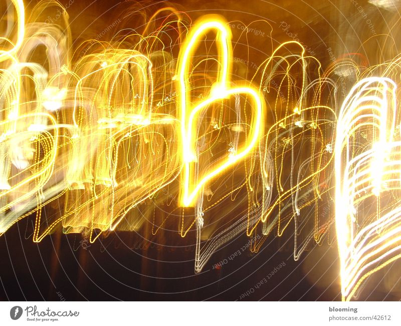 hearts Light Long exposure Style Yellow Black Heart Line