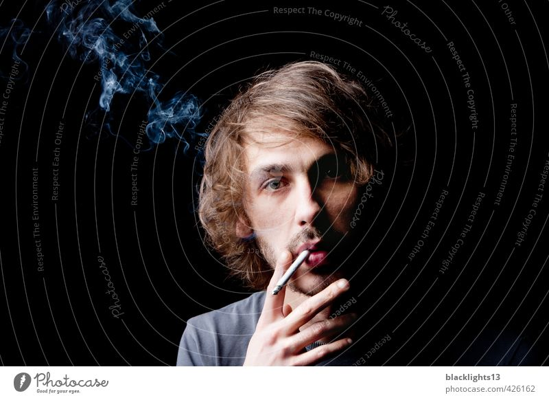Smoking a cigarette Lifestyle Elegant Style Healthy Intoxicant Masculine Young man Youth (Young adults) Adults Mouth Lips Hand 18 - 30 years Disgust Modern