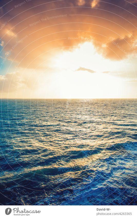Sunset on the sea Ocean Sunbeam Reflection Waves ocean Water Sunlight Sky Illuminate beautifully Clouds Sunrise