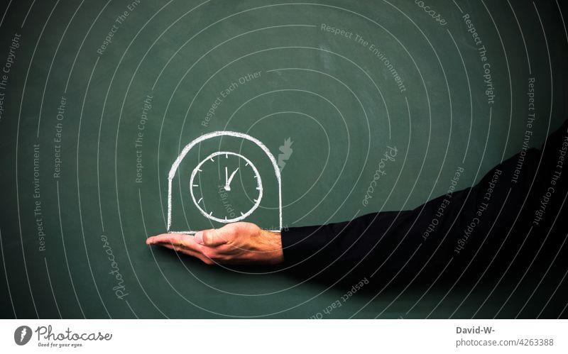 Time - concept of appointment / punctuality and time management Clock time pressure Stress Prompt Date Chalk Blackboard Alarm clock