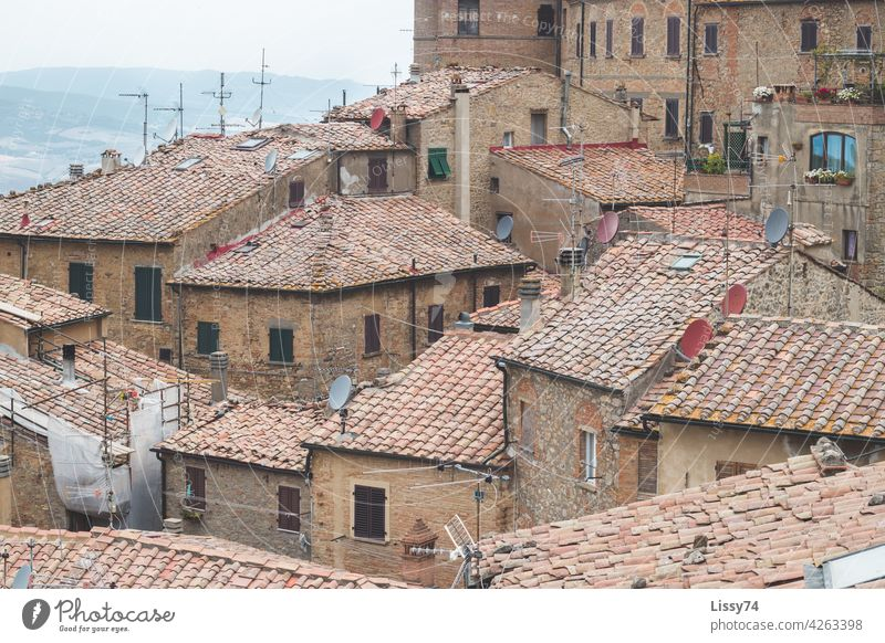 Above the rooftops of Tuscany Italy Village houses above the roofs outlook vacation holidays Bella Italia Vantage point Summer farsightedness Vacation voyage