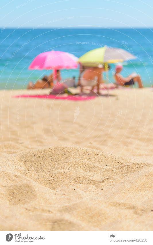 sand in sight Human being Group Environment Nature Cloudless sky Sun Summer Beautiful weather Warmth Coast Beach Ocean Sunshade Beach mat Sand Lie Bright Yellow