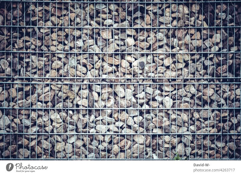 Gabions - fence with filled with stones - bad for wildlife harmful to the environment animal world Garden Fence Gloomy boringly Future trend Wall (barrier)
