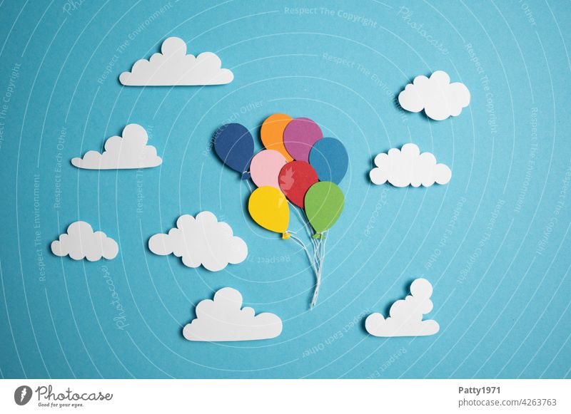 Balloons cut out of paper float through the sky between fluffy clouds Sky Flying Clouds Hover Paper Low-cut Blue Many Multicoloured Air Freedom Deserted Go up