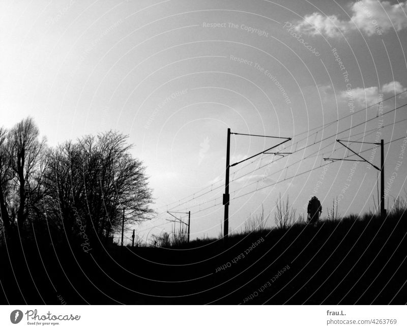 To the station Newspaper Old Village Woman Going Hat Coat Crooked Handbag Loneliness Degersen Lonely Human being on one's own Photomontage Field