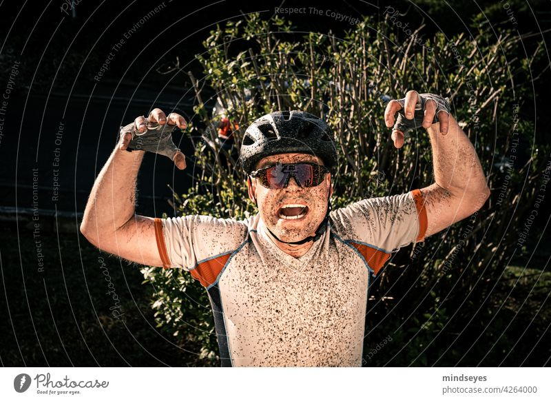 Cyclist in the mud Cycling slush Leisure and hobbies Sports Athletic Bicycle Exterior shot Colour photo Movement Lanes & trails Mobility Driving Lifestyle Trip