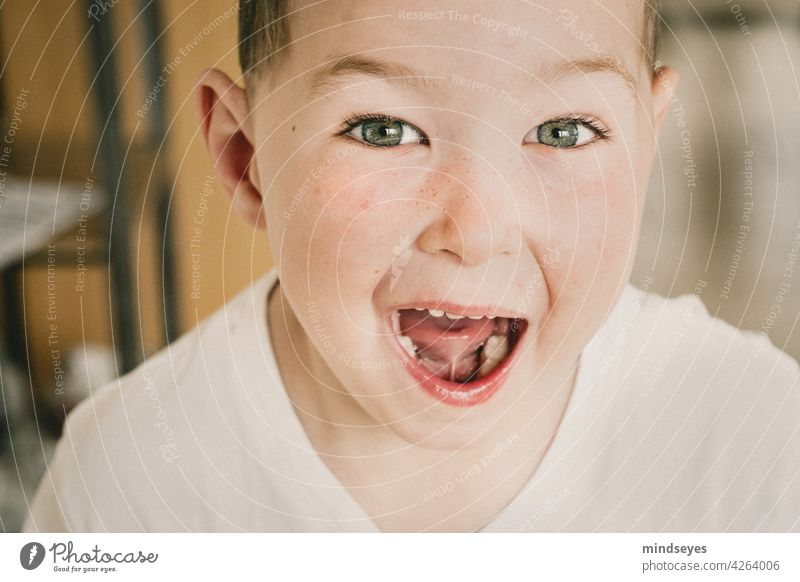 Happy Boy High Key Portrait photograph Boy (child) Human being Child Infancy Joy Happiness Colour photo Face Caucasian young cheerful Mouth open mouth opened
