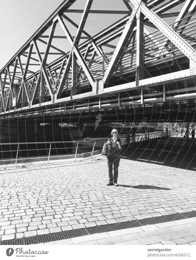 tourist for a day Tourism Tourist Bridge Hamburg Harbor city Black & white photo Turban posing Photography Architecture Harbour Port City Manmade structures