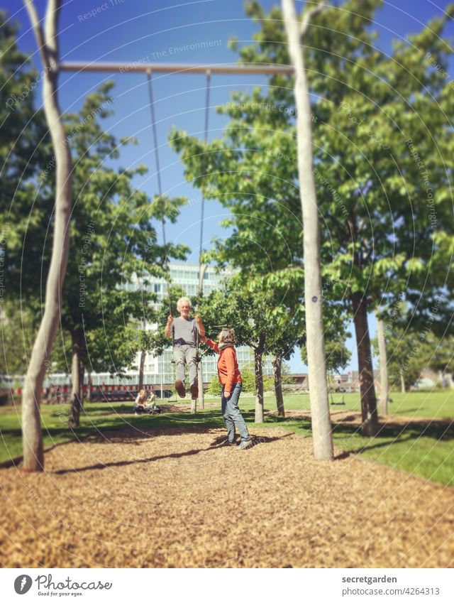 Always keep moving (1/3) Swing To swing Playing Childlike fun Playground Adults Summer Infancy Exterior shot Joy Colour photo push Toast Leisure and hobbies