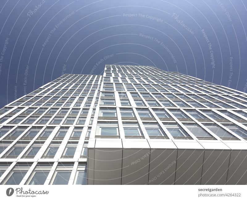 Sky-high perspective (2) High-rise Tall Blue White Architecture Facade Window Office building New building Town Modern Building Exterior shot Colour photo