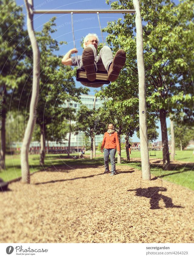 Always keep moving (3/3) Swing To swing Playing Childlike fun Playground Adults Summer Infancy Exterior shot Joy Colour photo push Toast Leisure and hobbies