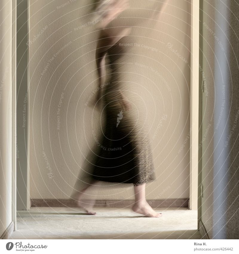 Human being Woman Adults Wall (building) Wall (barrier) Time Bright Going Walking Authentic Speed Floor covering Dress Barefoot Hallway Wave