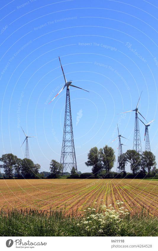 Wind turbines with lattice towers wind power wind farm Environment Rotor Rotor blades Pinwheel Steel carrier Renewable energy steel mast lattice mast