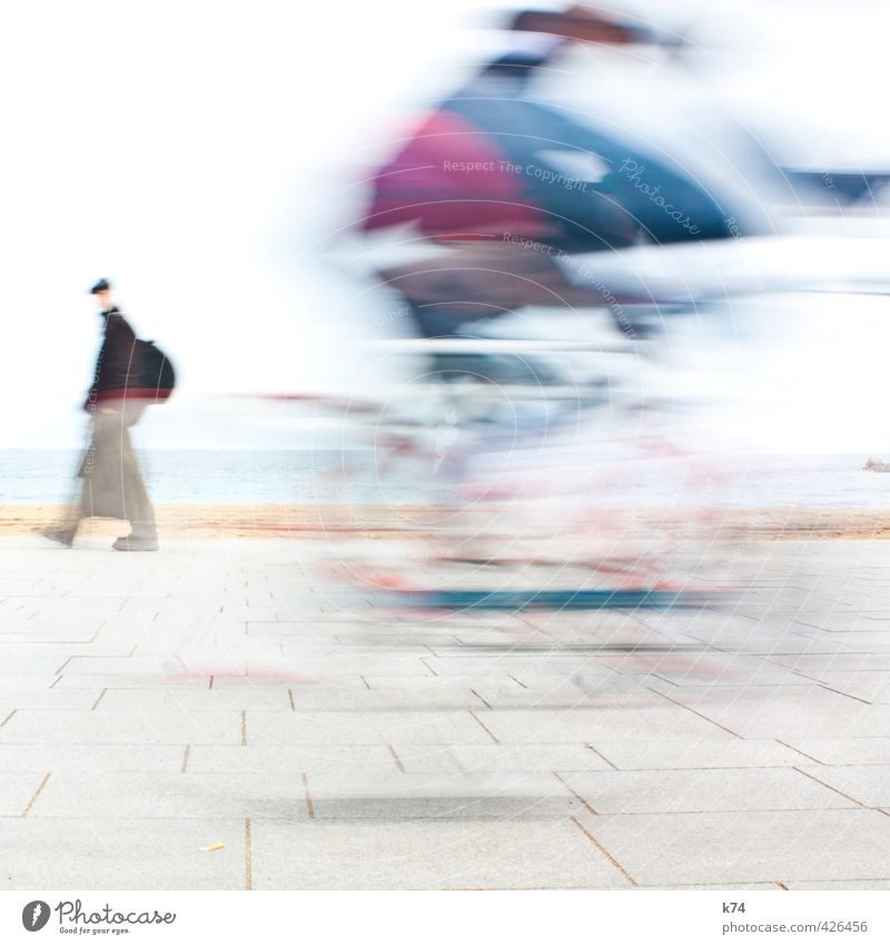 Disolución II Cycling Human being Masculine 2 Driving Going Speed Athletic Blue Violet White Colour photo Exterior shot Day Motion blur Central perspective