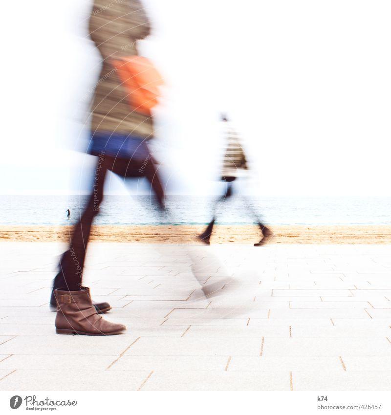 Disolución I Human being Feminine Body 3 Horizon Beach Ocean Dress Coat Bag Boots Going Cool (slang) Blue Brown Orange White Movement Colour photo Multicoloured
