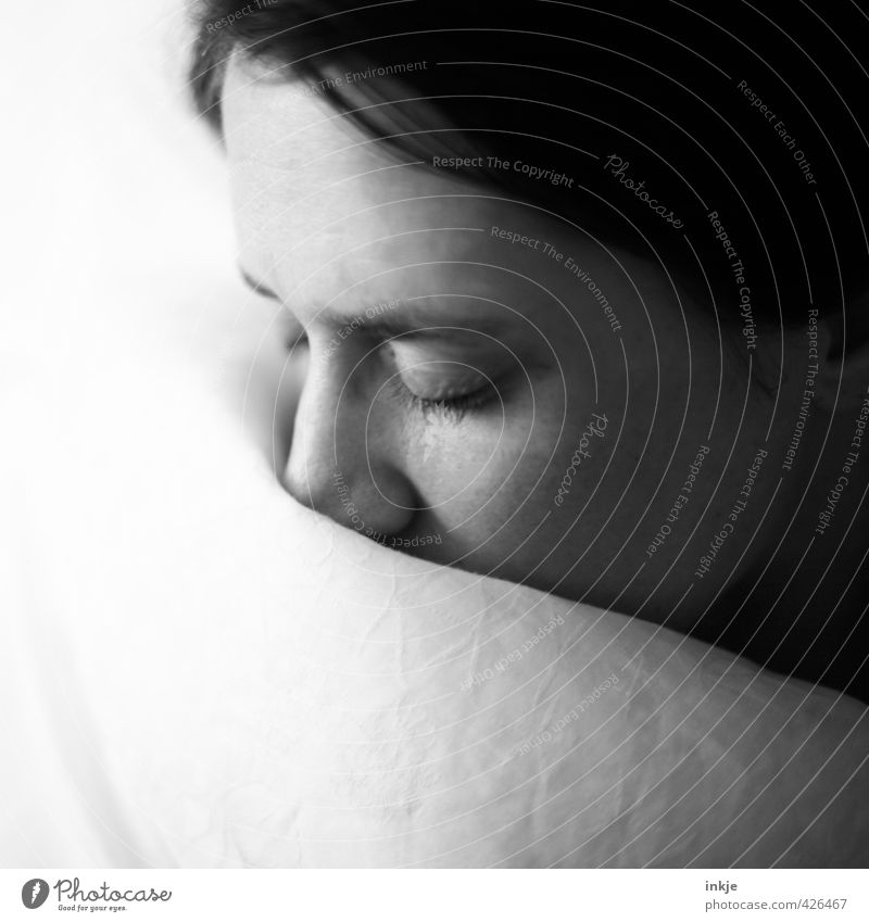 slumber Relaxation Calm Living or residing Bed Woman Adults Life Face 1 Human being 30 - 45 years Duvet Sleep Dream Cuddly Near Soft Black White Emotions