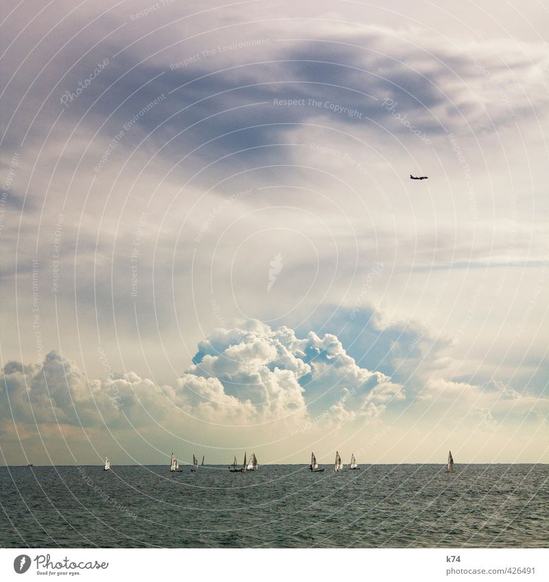seascape Summer Ocean Waves Water Sky Clouds Storm clouds Weather Means of transport Navigation Boating trip Sailboat Aviation Airplane Driving Flying Blue