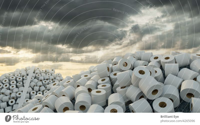 Pile with lots of toilet paper rolls in front of cloudy sky 3D Abstract background Heap concept covid-19 Environment Evening Ground Hill Household hygiene